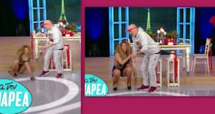 Επική τούμπα χορεύτριας στο πλατό της εκπομπής «για την παρέα» – Η αντίδραση Του Μουτσινά