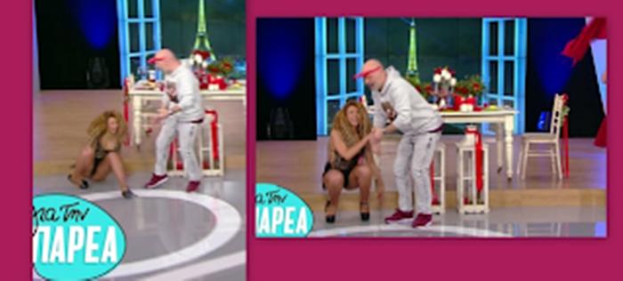 Επική τούμπα χορεύτριας στο πλατό της εκπομπής «για την παρέα» – Η αντίδραση Του Μουτσινά 34