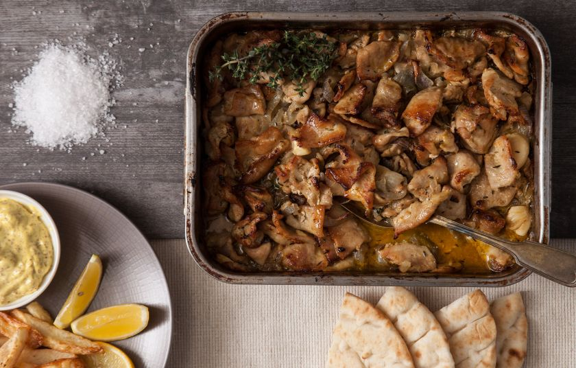 Χοιρινό ψιλοκομμένο στον φούρνο με κρεμμύδια και μουστάρδα 4