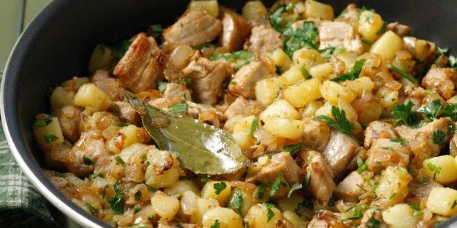 Τηγανιά με χοιρινό, πατάτες και θυμάρι
