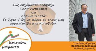 Βασίλης Κοσμόπουλος : Ευχές για καλό Πάσχα και καλή Ανάσταση!