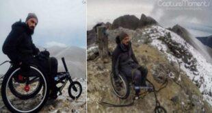 Τα κατάφερε ανέβηκε με το αναπηρικό καροτσάκι στην κορυφή του Ολύμπου ο Κύπριος παραπληγικός