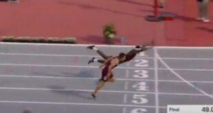 Αθλητής έπεσε με τα μούτρα για να κερδίσει αγώνα μετ` εμποδίων