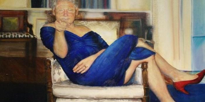 Ο πίνακας του Μπιλ Κλίντον με γόβες και φόρεμα που βρέθηκε στο σπίτι του Έπσταϊν 1