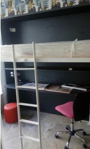 max-kids κρεβάτι τοίχου με γραφείο βιβλιοθήκη, ντουλάπα και τροχήλατη συρταριέρα
