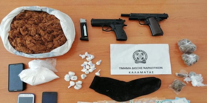 Οπλισμένους συνέλαβαν τους διακινητές κοκαΐνης και χασίς στην Καλαμάτα 1