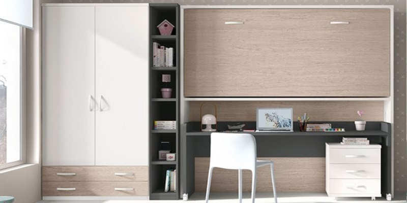max-kids κρεβάτι τοίχου με γραφείο βιβλιοθήκη, ντουλάπα και τροχήλατη συρταριέρα 4