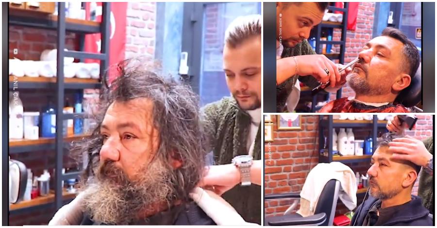 Κομμωτής μεταμορφώνει έναν άστεγο! Τον έκανε πραγματικά κούκλο (βίντεο) 2