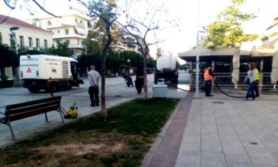 Καθαρισμός και πλύσιμο σε πλατείες και πεζοδρόμους της Καλαμάτας 3