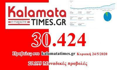 30.424 προβολές το kalamatatimes.gr χθες Κυριακή 24 Μαΐου 16
