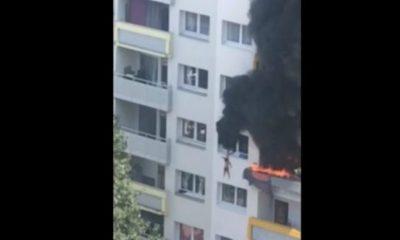 Συγκλονιστικό βίντεο: Αδερφάκια πηδούν από ύψος 10 μέτρων για να σωθούν από φλεγόμενο διαμέρισμα 5
