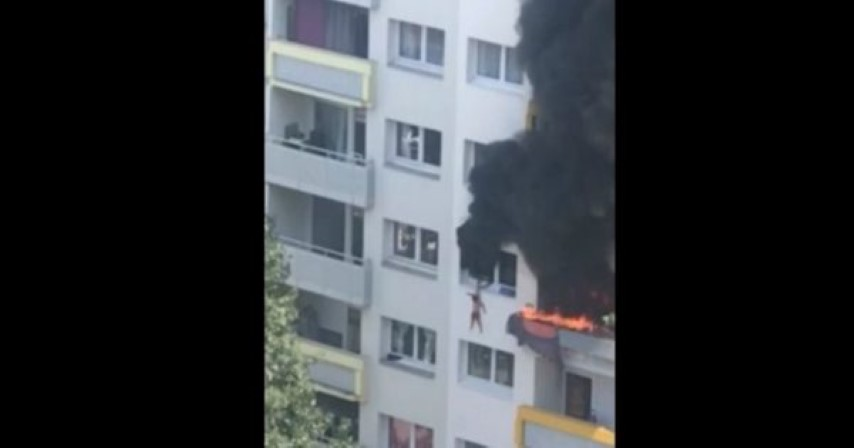 Συγκλονιστικό βίντεο: Αδερφάκια πηδούν από ύψος 10 μέτρων για να σωθούν από φλεγόμενο διαμέρισμα 15